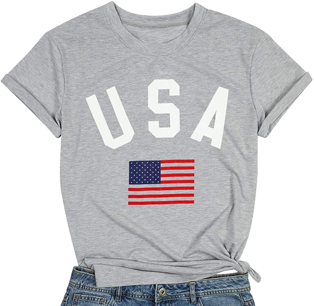 UNIQUEONE Womens Short Sleeve T-Shirts American Flag Graphic USA Printed 4th July Patriotic Summer Casual Crew Neck Blouse