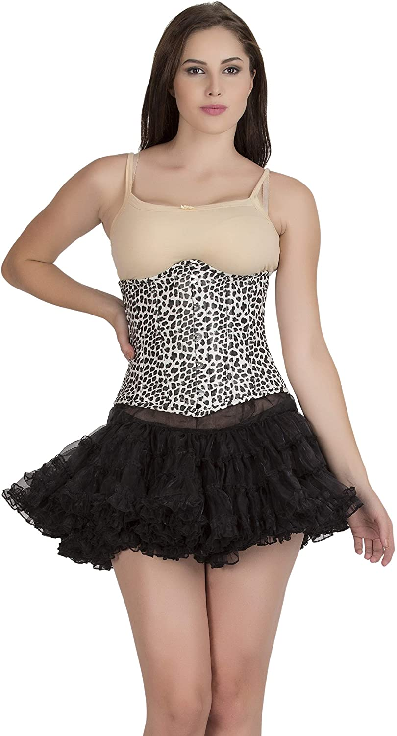 Black and White Leather Corset Animal Print Waist Trainer Bustier Underbust Top