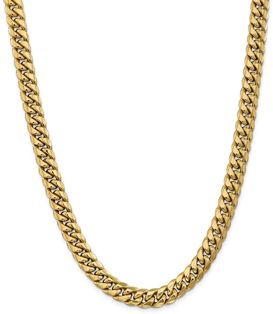 14k 9.3mm Semi solid Miami Curb Chain Necklace 28 Inch Jewelry Gifts for Women