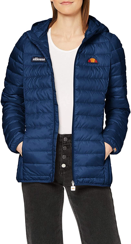 ellesse Women Quilted Jacket Lompard, Color:Dress Blues, Size:6 (2XS)