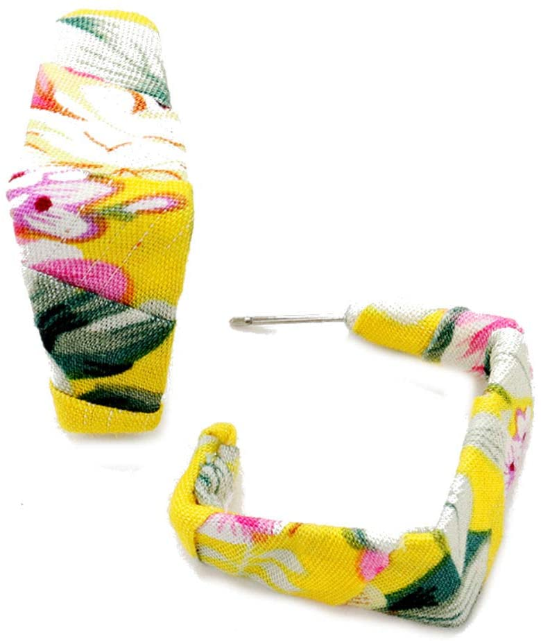 Yellow Tropical Pattern Fabric Wrapped Open Rhombus Hoop Earrings, 0.6