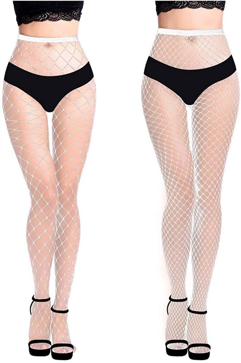 MengPa Fishnet Stockings High Waisted Tights Pantyhose for Women Dancing Party 2Pcs