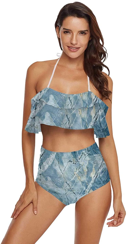 Women Floral Ruffled Bathing Suit Tummy Control Bikini Set Natural raw Marble Texture,