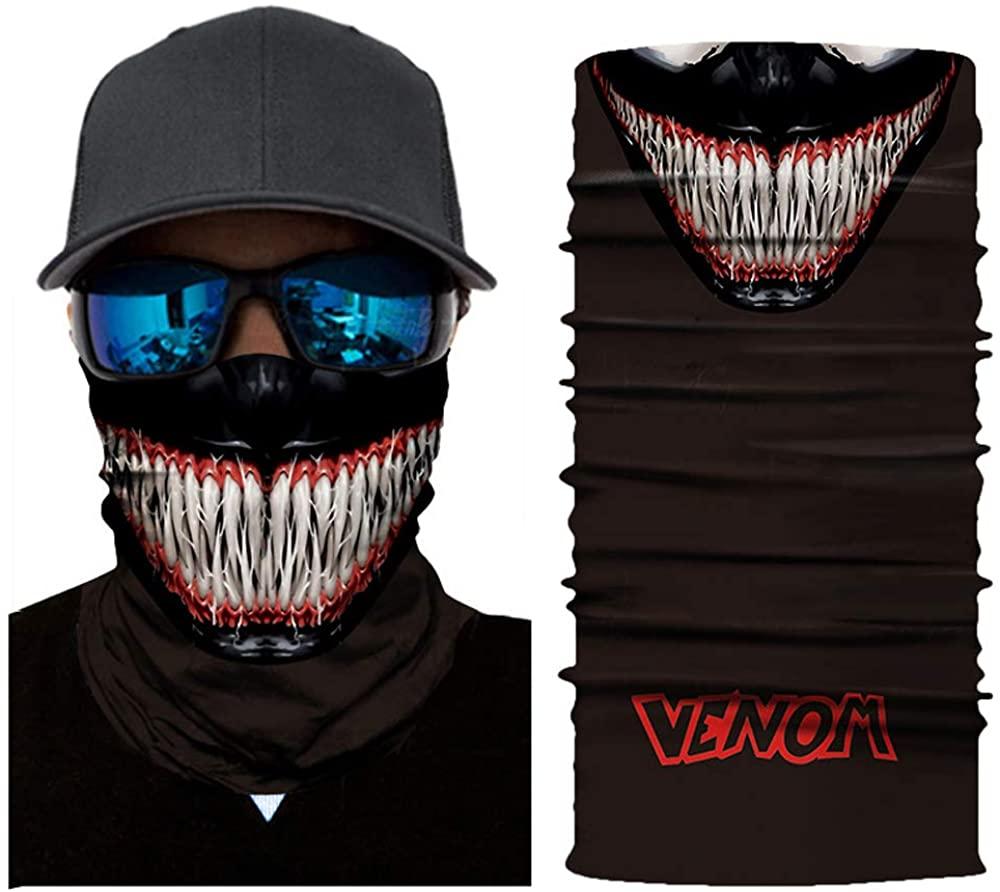 Women Men Seamless Face Mask Bandana Skull Neck Gaiter Headband for Dust Outdoors Festivals Sports Running