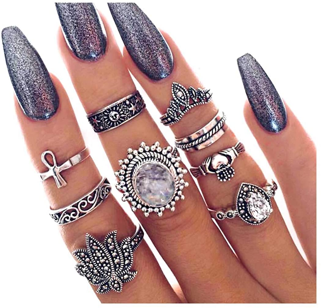 Barode Vintage Joint Knuckle Ring Set Silver Boho Finger Ring Set Decor Gemstone Rhinestone Hollow Flower Stackable Hand Jewelry for Women and Girls (9Pcs)