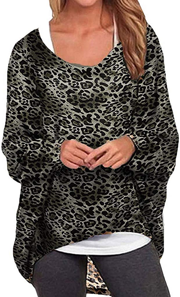 Mikey Store Women's Casual Bat Sleeve Long Sleeve Loose Leopard Pullover T-Shirt Top