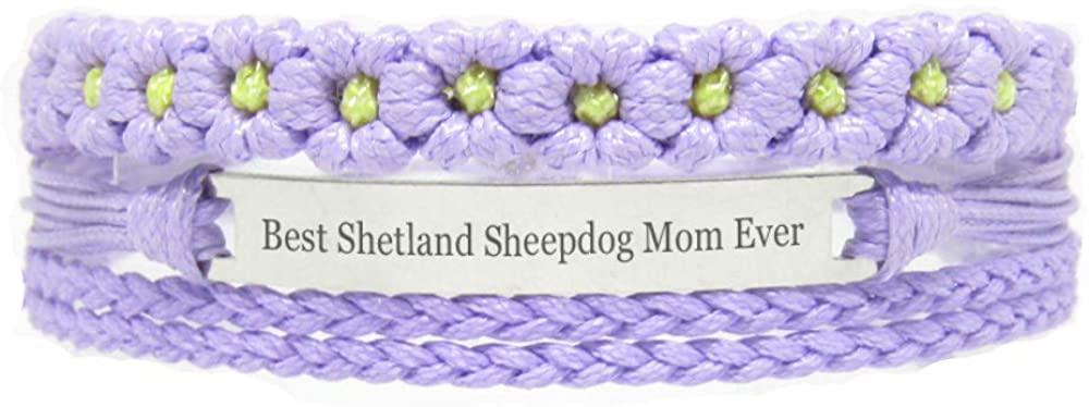 Miiras Pet Lover Engraved Handmade Bracelet for Women - Best Shetland Sheepdog Mom Ever - Purple FL- Made of Braided Rope, Stainless Steel - Gift for Shetland Sheepdog Mom