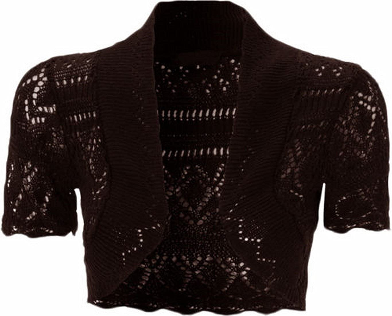 Womens Knitted Bolero Shrug Short Sleeve Crochet Shrug (XL, Brown)