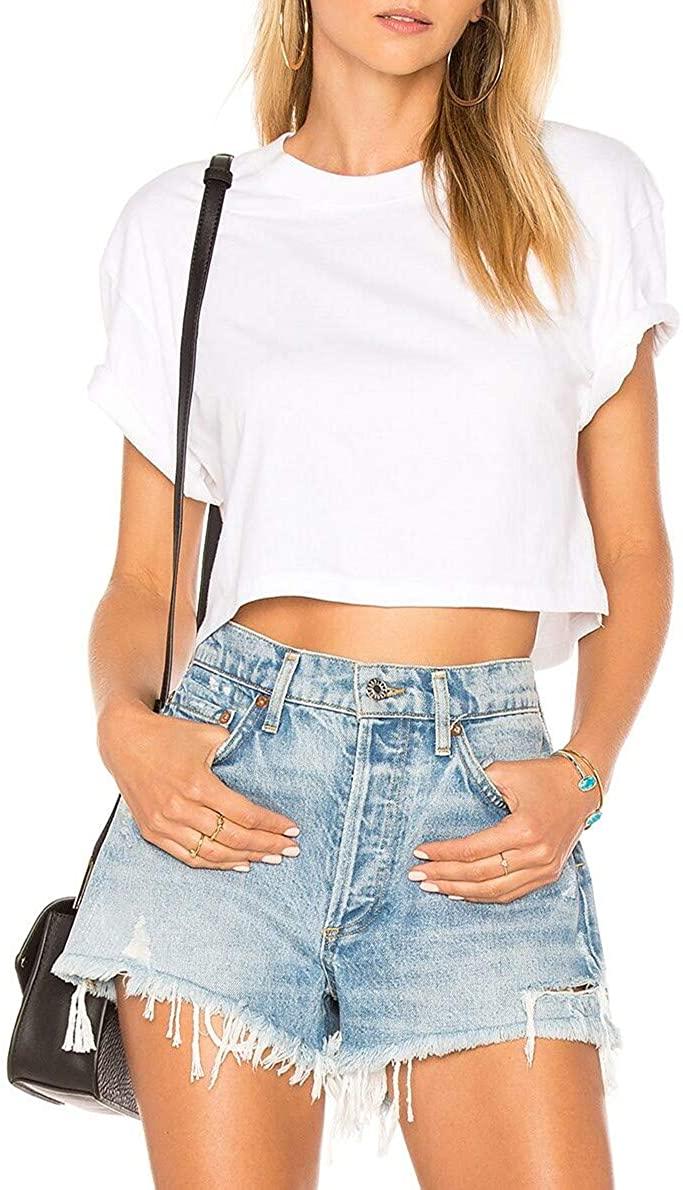JLCNCUE Women's Basic Short Sleeve Scoop Neck Casual Crop Top T-Shirt 71802