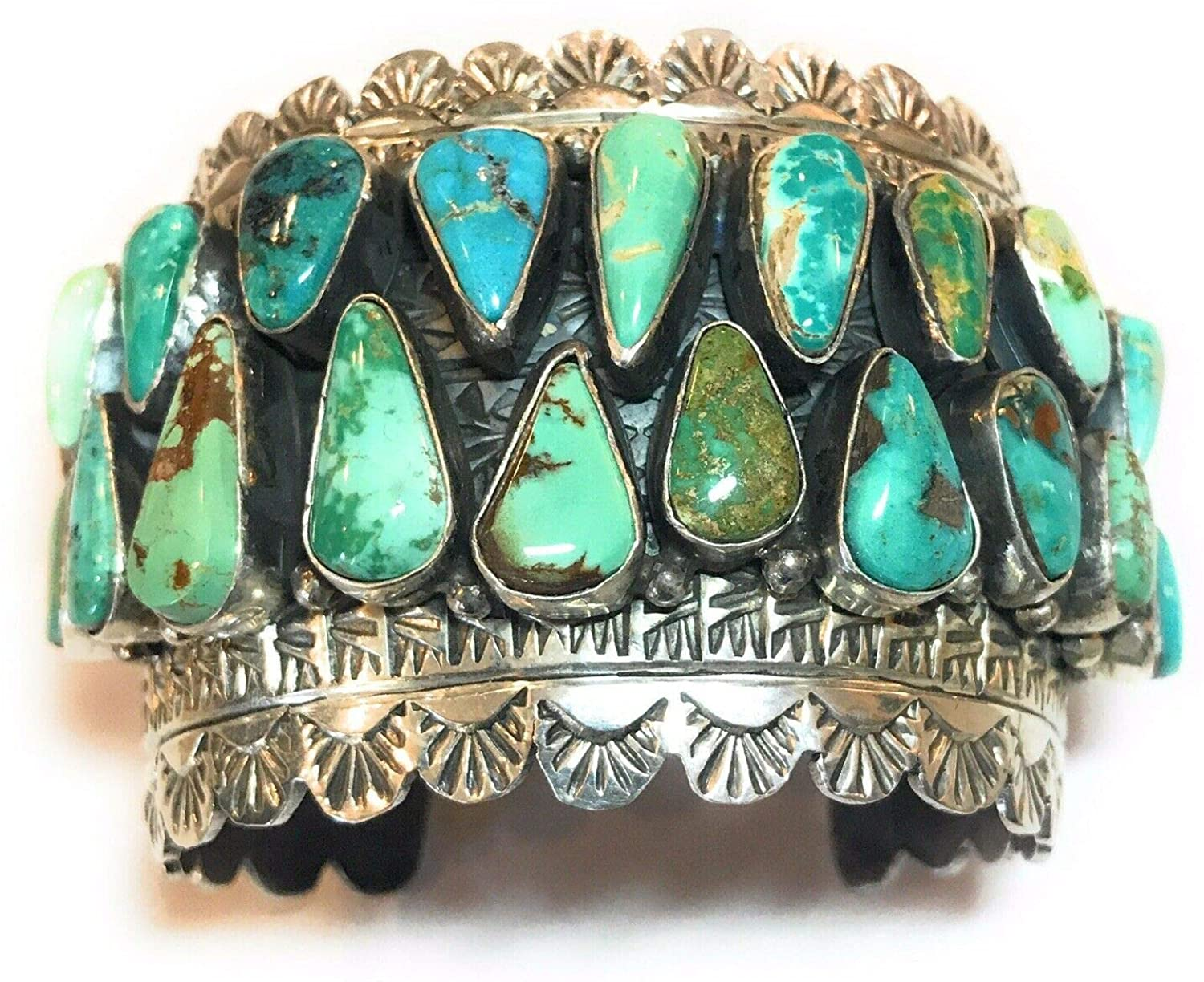 Nizhoni Traders LLC Incredible Royston Turquoise and Sterling Silver Cuff Bracelet Signed