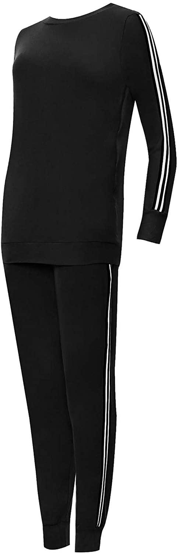FASHION FAIRIES Plain Side Striped Contrast Bottom Jogging Set Women Ladies Long Sleeve Tracksuit