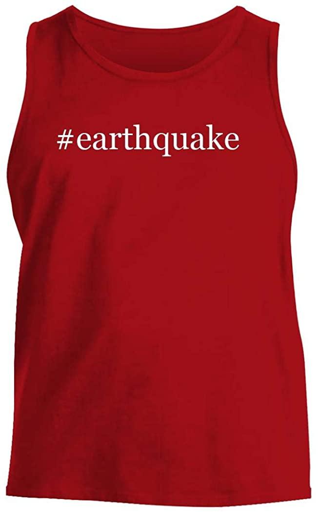 #earthquake - Men's Hashtag Comfortable Tank Top, Red, Medium