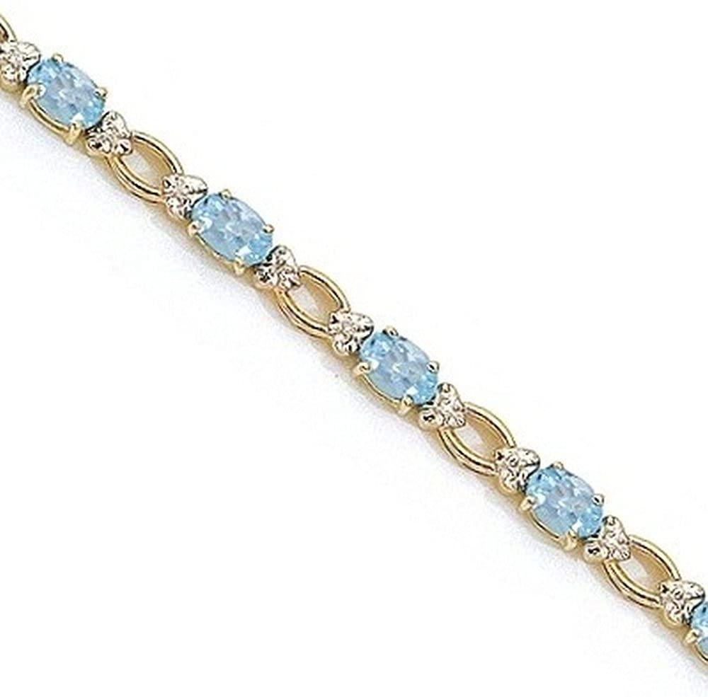 14k Gold Oval Aquamarine and Diamond Link Bracelet (6.72 ctw)