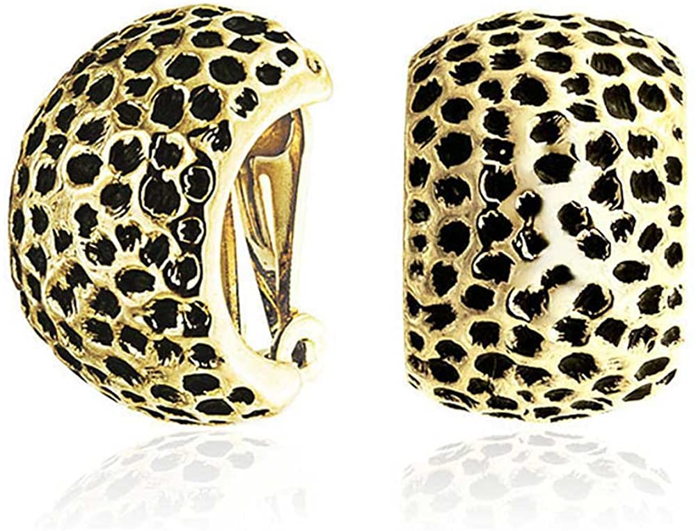 Fashion Speckle Texture Hammered Leopard Half Hoop Clip On Earrings For Women Non Pierced Ears Matte Silver Gold Plated