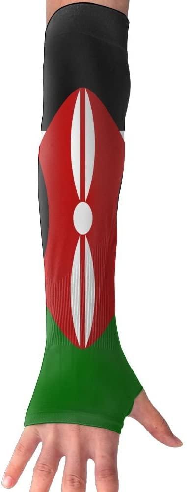 CHAN03 Anti-uv Sun Protection Kenya Flag Gloves Long Fingerless Arm Cooling Sleeve Men Women