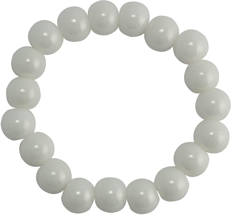 LND Women's White Ceramic Beaded Bracelet