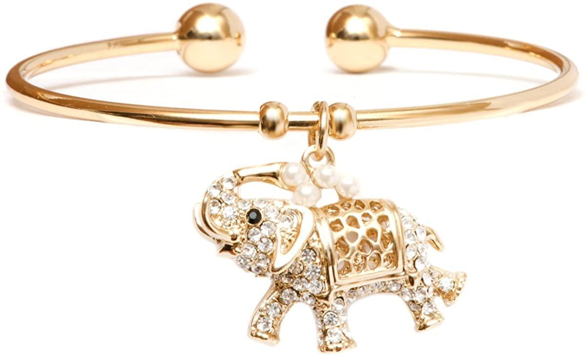 Barzel 18K Gold Plated Crystal Charm Bangle