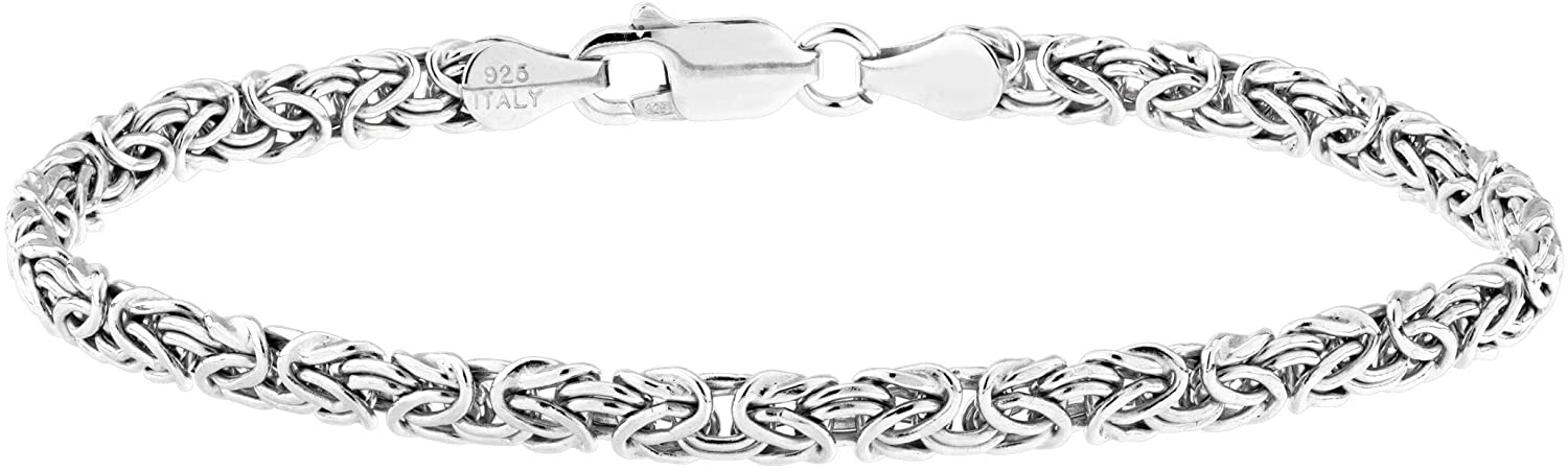 Miabella 925 Sterling Silver or 18K Gold Over Silver Italian 4mm Byzantine Link Chain Bracelet or Anklet Ankle Bracelet for Women Teen Girls, 6.5, 7, 7.5, 8, 9, 10 Inch 925 Italy