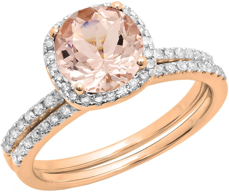 Dazzlingrock Collection 14K 6 MM Round Morganite & White Diamond Bridal Halo Engagement Ring Set, Rose Gold