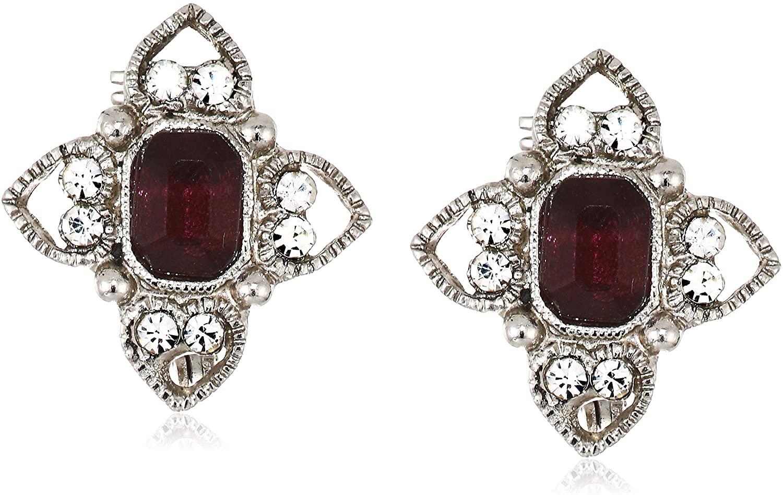 1928 Jewelry Womens Silver Tone Purple Rectangle Crystal Floral Clip Earrings, Purple, One Size, purple