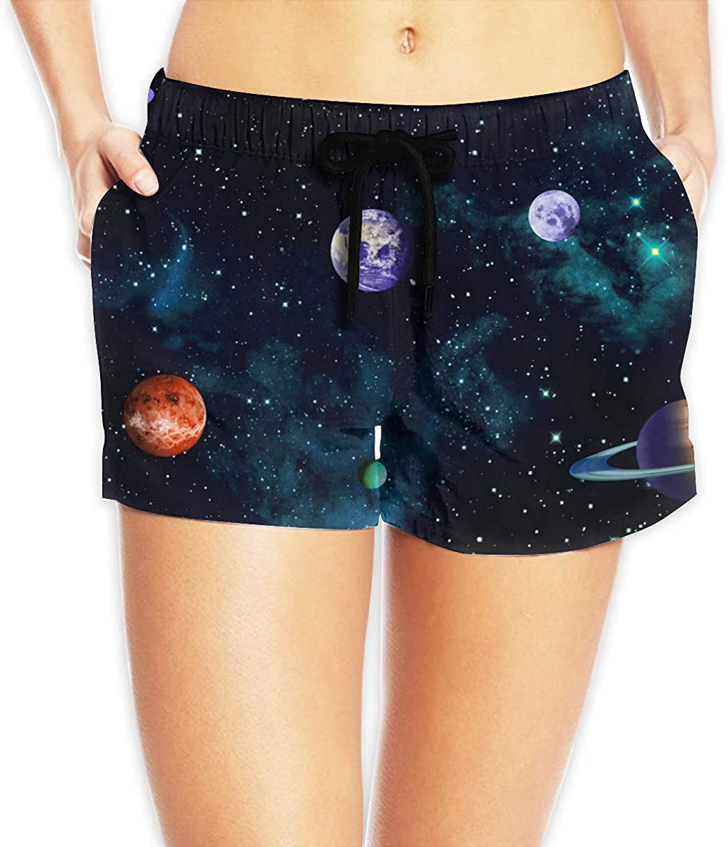 LzVong Outer Space Science Rocket Women's Female Beach Pants Summer Beachwear Board Shorts