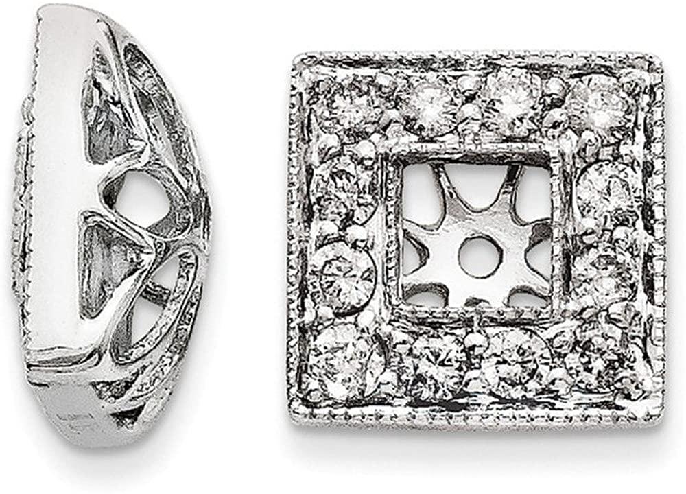 14K White Gold Diamond Square Jacket Earrings 9mm (.511 cttw.)