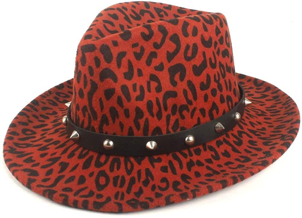SHENLIJUAN Autumn Winter Wide-Brimmed Fedora Hat Wool Polyester Men's Jazz Flat Hat Cap Ladies Fashion Rivets