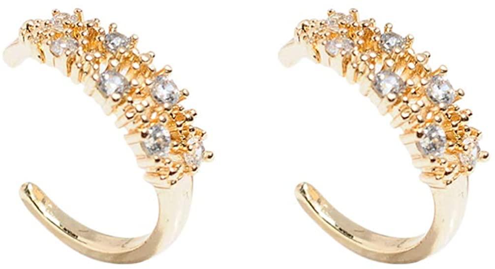 Happyyami 1 Pair Ear Cuff Huggie Earrings Non Pierced Earrings Cubic Zirconia Earrings Jewelry for Girl Woman Lady (e8410)