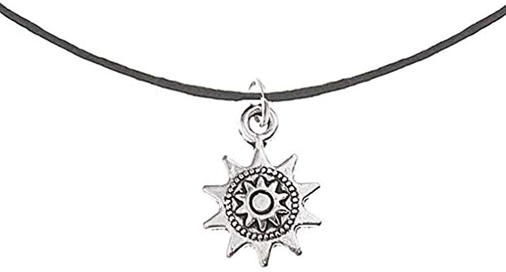 RUIZHEN Antique Silver Sunflower Leather Choker Necklace