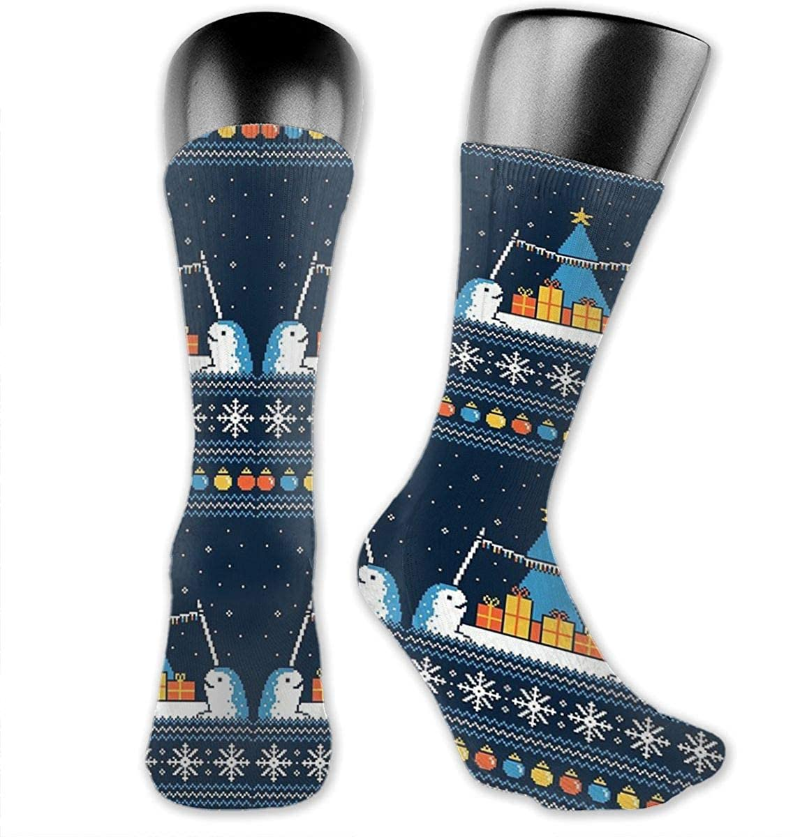 Unisex Crazy Funny Christmas Narwhals Socks Colorful Athletic Travel Socks Novelty Casual Crew Socks