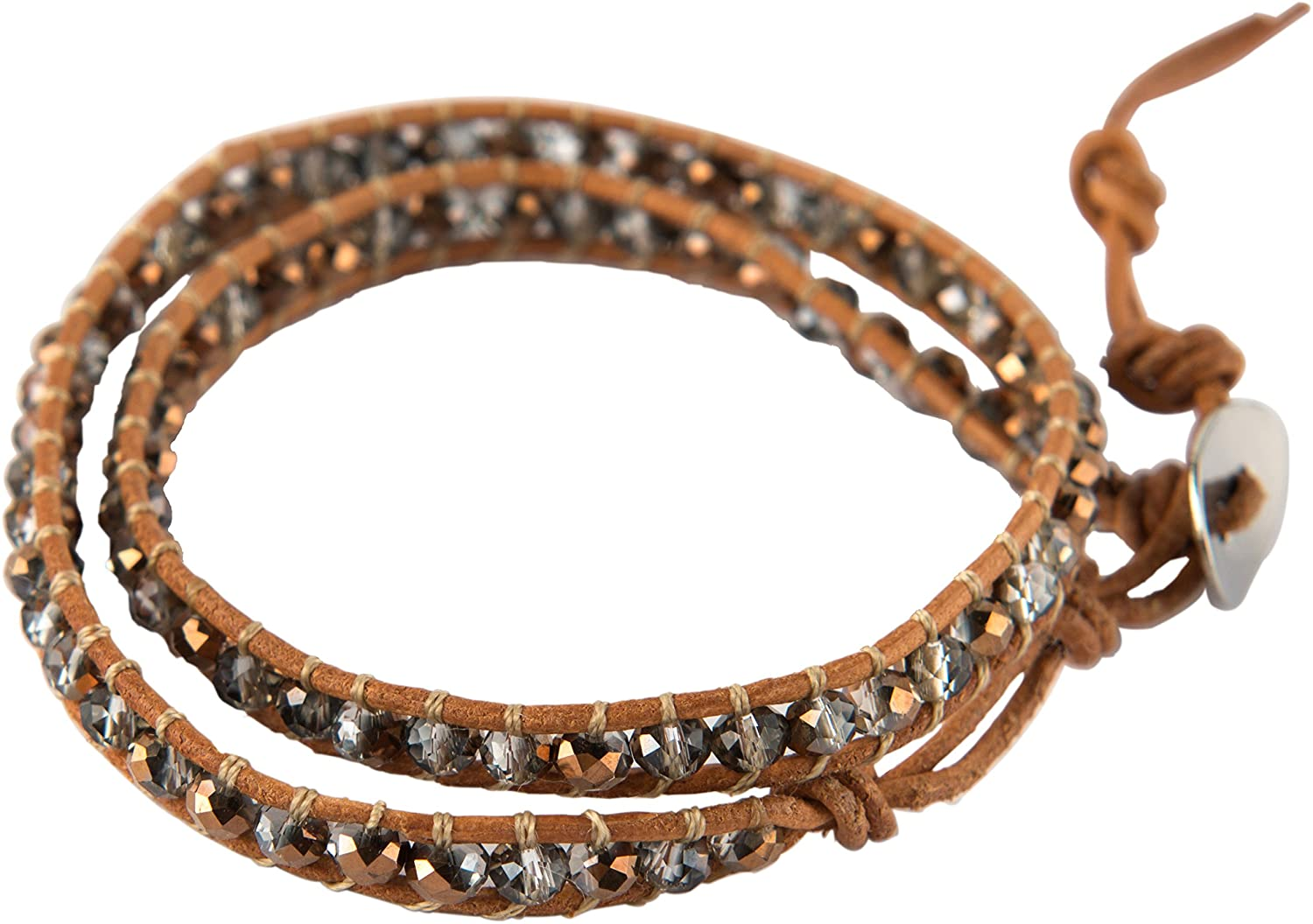 Vexed Soul Handmade Wrap Bracelet with Supple Brown Leather and Bright Faceted Crystal Beads