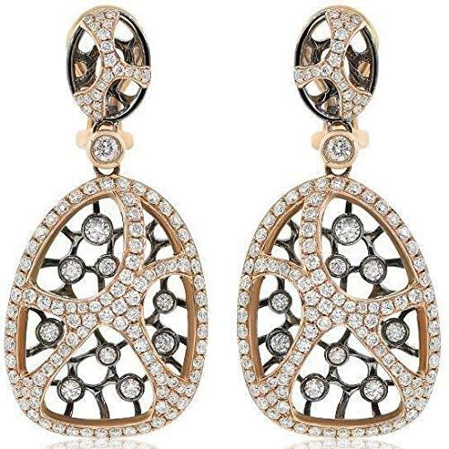 1.90CT DIAMOND 18KT ROSE & BLACK GOLD OPEN FILIGREE WEB CLIP ON HANGING EARRINGS