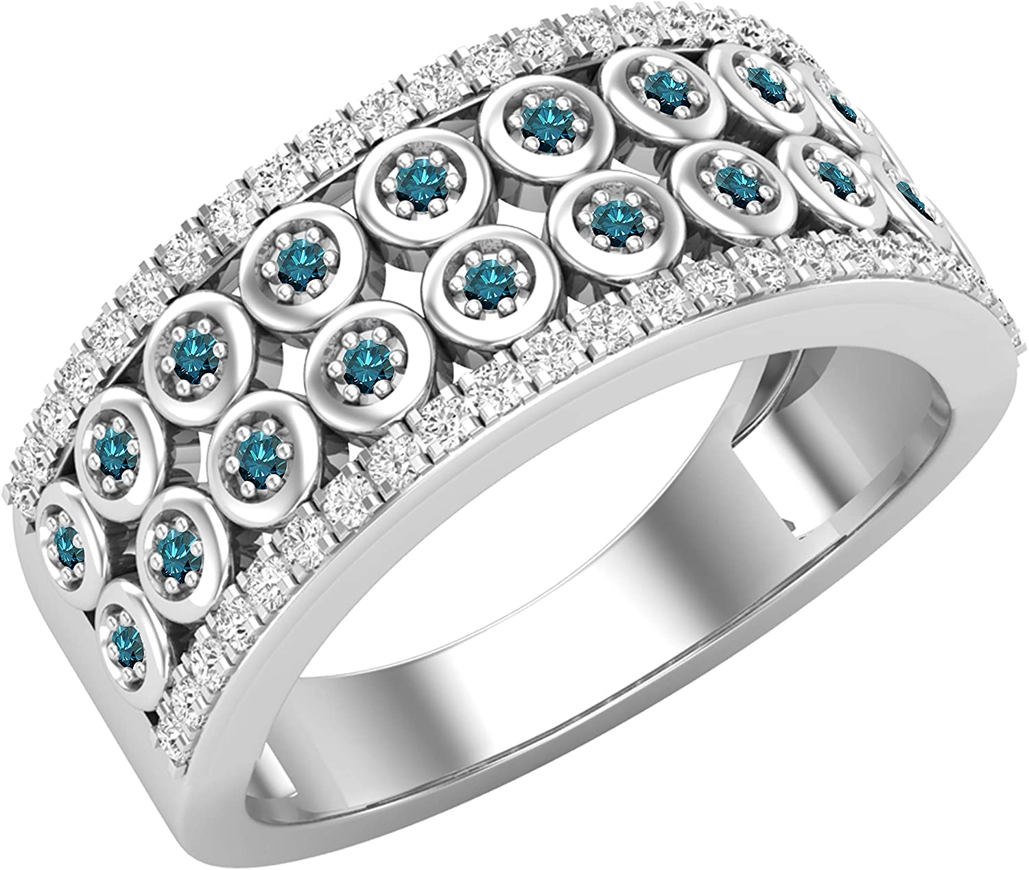 Dazzlingrock Collection Round Gemstone & White Diamond Ladies Bridal Wedding Anniversary Band, Available in Various Gemstones in 10K/14K/18K Gold & 925 Sterling Silver