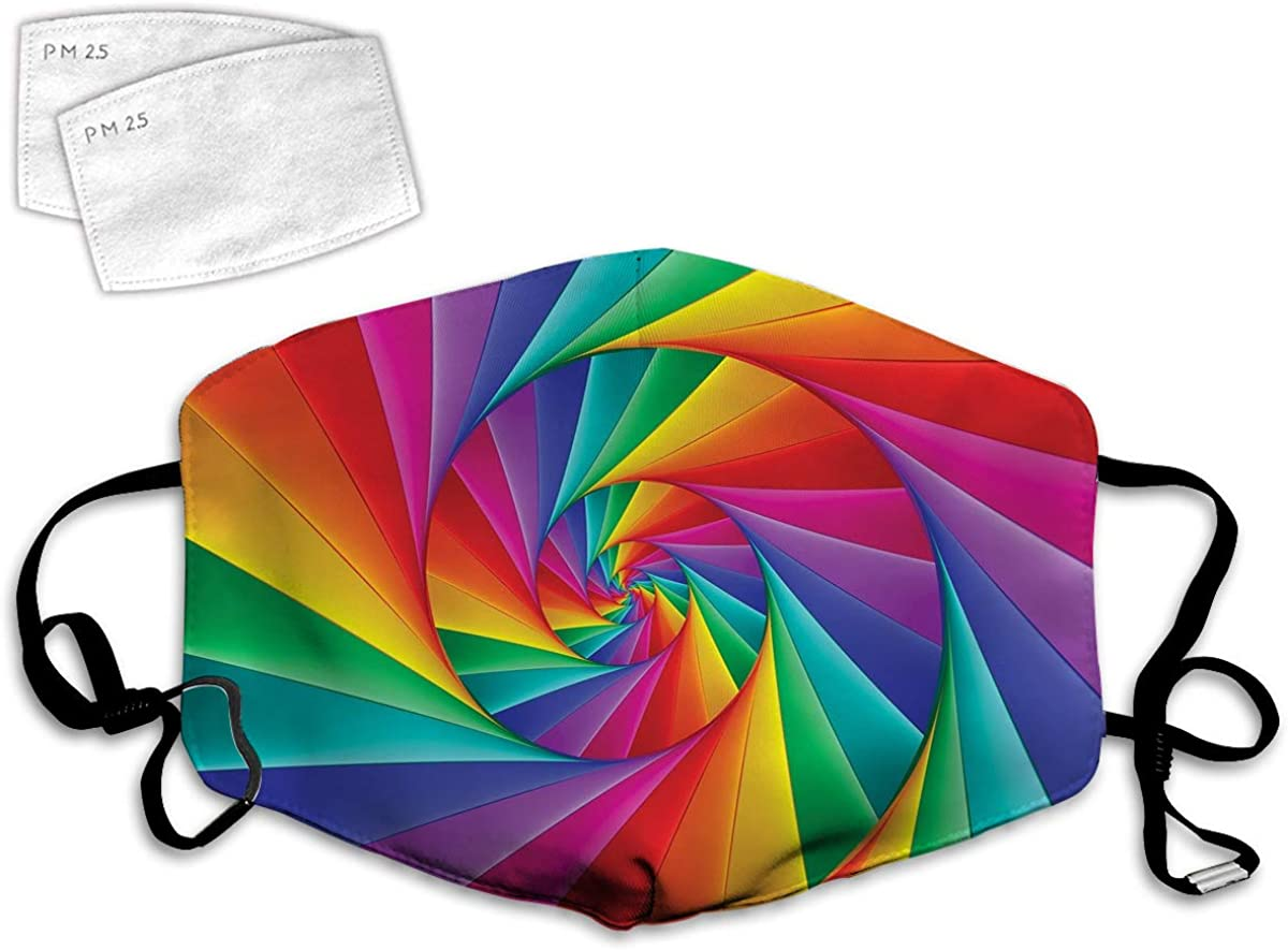 Multi Usage Face Cover UP Abstract Art Psychedelic Spiral in Vivid Rainbow Colors Triangular Fractals Close-Up Balaclava Reusable Windproof Mouth Cover with 2 Filter