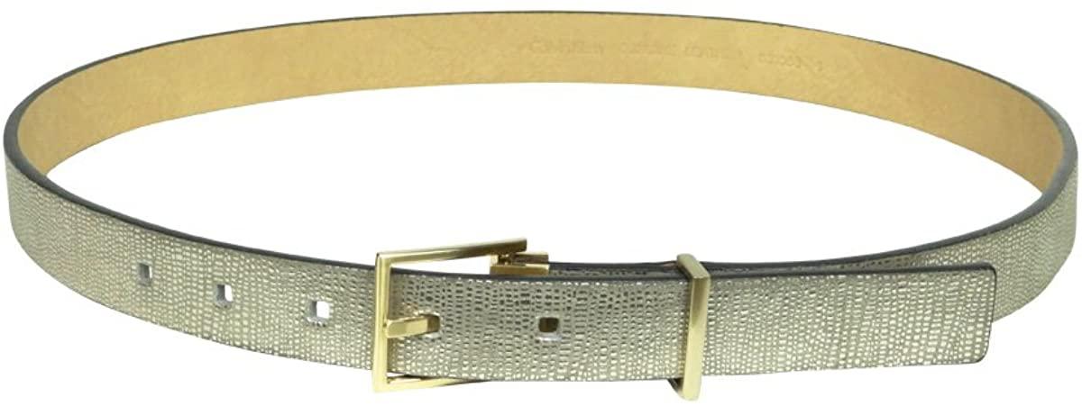 Calvin Klein Women's Metallic Exotic Embossed Belt X-large Gold