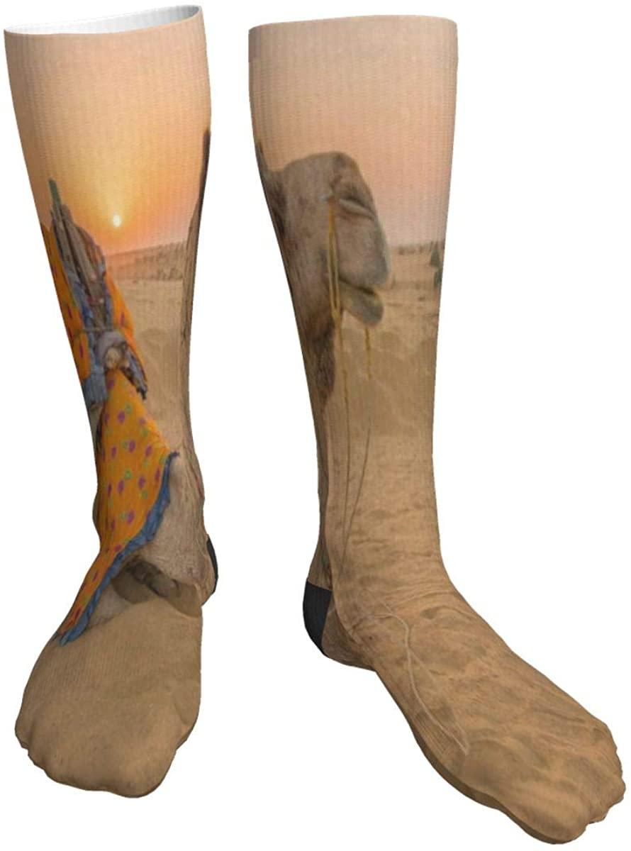Mens Womens Crew Socks Sunset Desert Camel Lovely Novelty Mid Calf Dress Tube Socks Youth