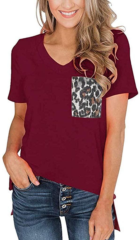 iYBUIA Women's Summer Round Neck Short Sleeves V-Neck T-Shirt Leopard Big Pocket Casual Basic Tees Tops