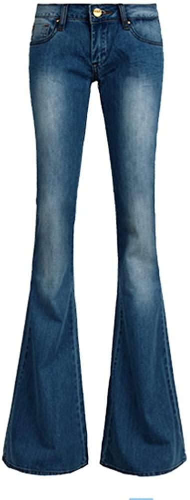 AvaCostume Women's Retro Slim Fit Bell-Bottom Wide Flared Jeans