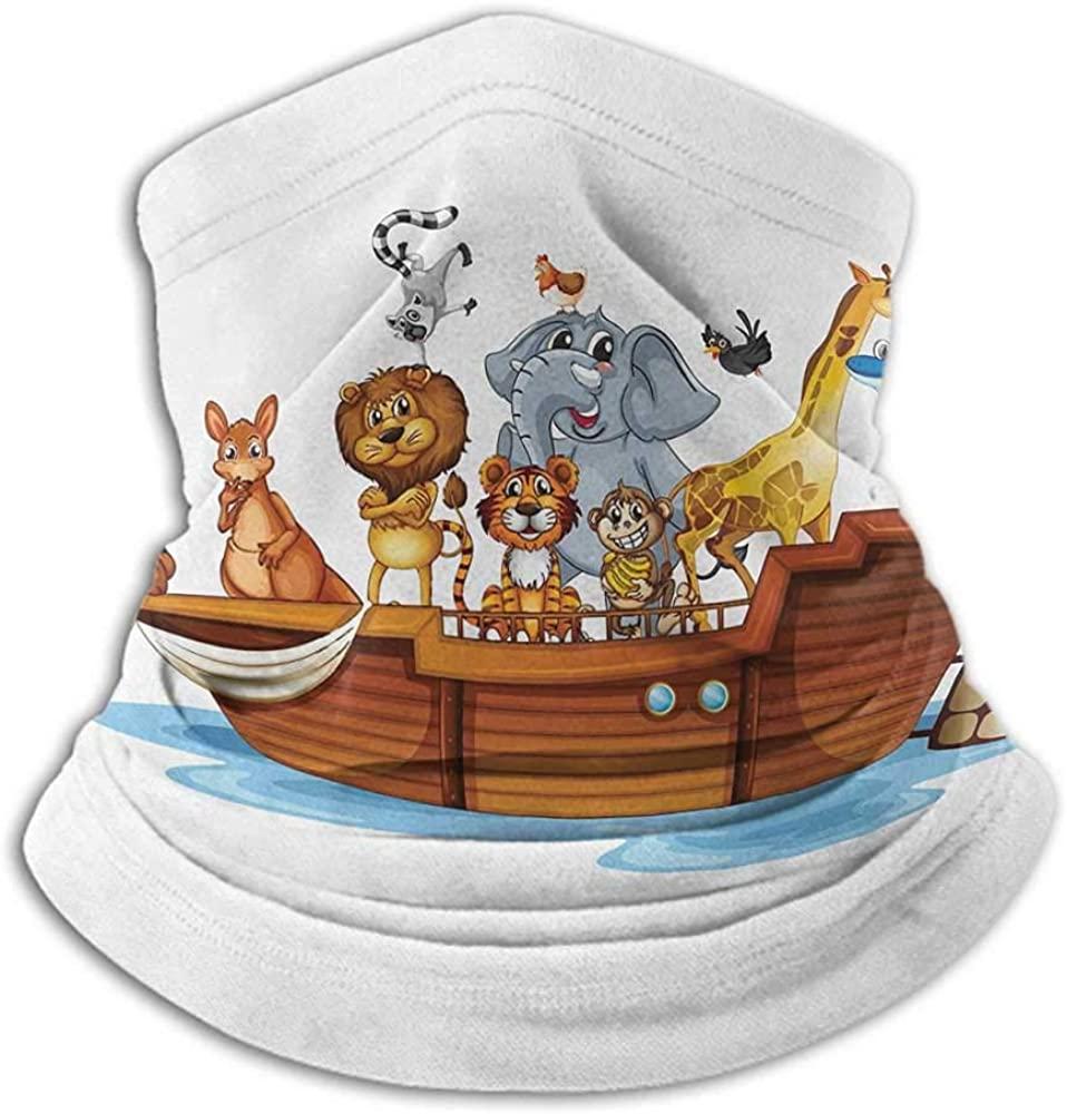 Bandanas For Women Ark Headband Neck Gaiter Illustration of Many Animals Sailing in the Boat Mythical Journey Faith Giraffe Multicolor