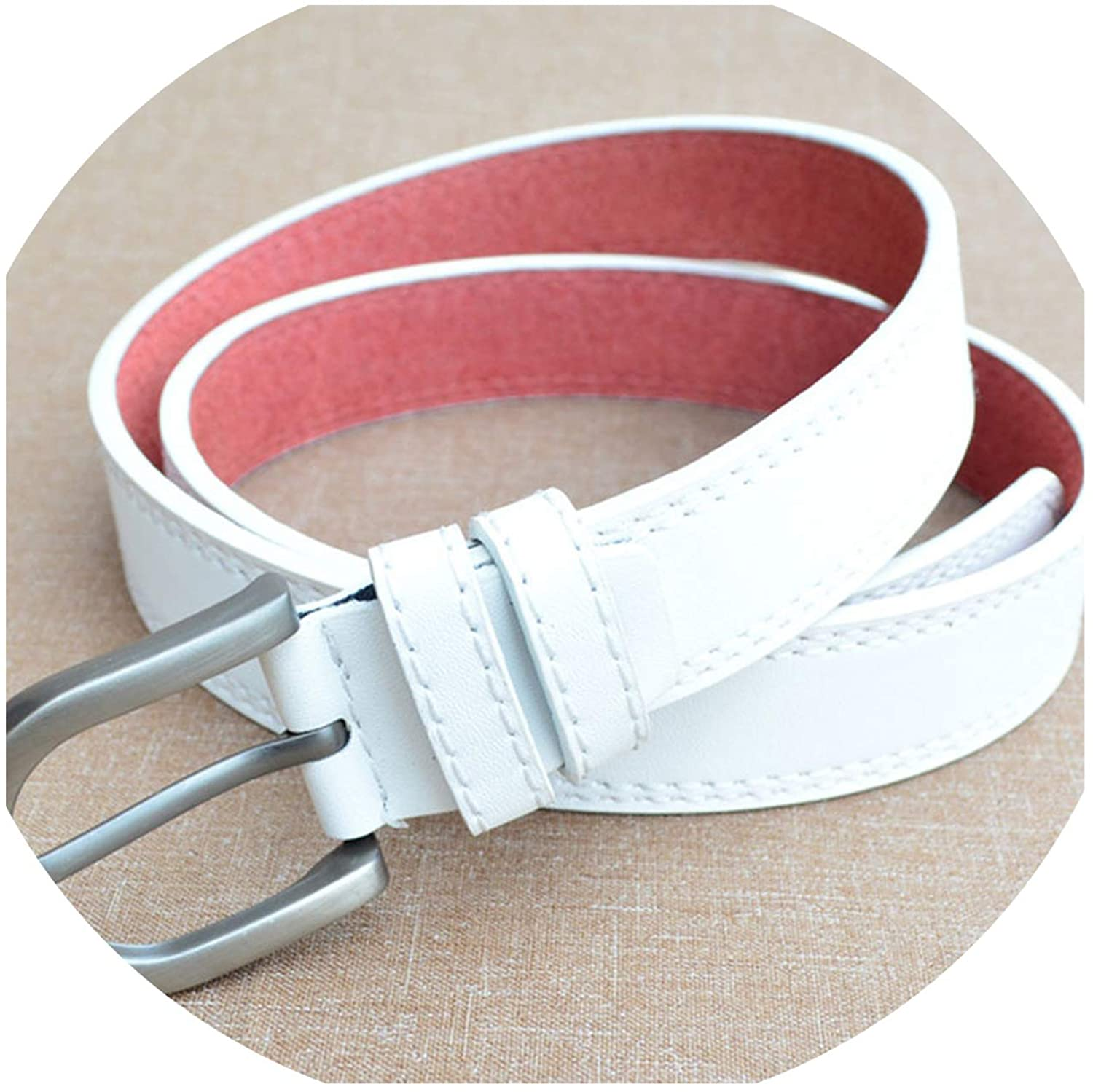 Women'S Casual Belt Pin Buckle Casual Belt Imitation Leather Simple Alloy Buckle Belt Multicolor Optional