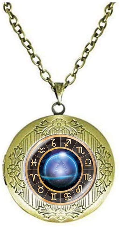 Zodiac Glass Locket Necklace The Zodiac Constellation Jewelry Art Photo Jewelry Birthday Festival Gift Beautiful Gift