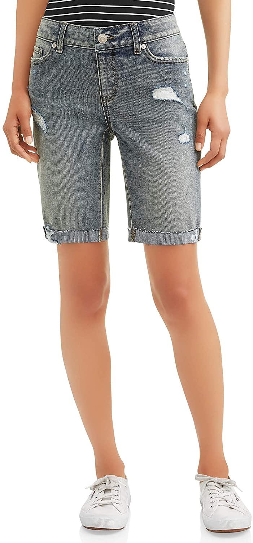 Time and Tru Stretch Distressed Medium Jean Bermuda Shorts with Cuffs