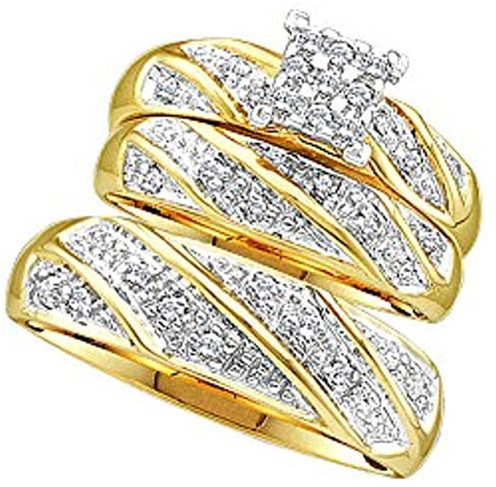 14k Yellow Gold Plated White CZ Diamond Mens and Ladies Couple His & Hers Trio 3 Three Ring Bridal Matching Engagement Wedding Ring Band Set .925 Sterling Silver
