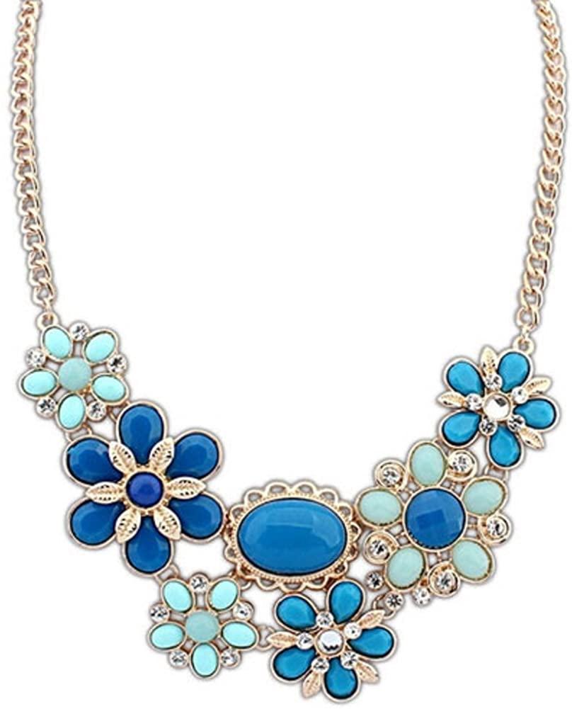 Q&Locket Fashion Colorful Flower Bubble Bib Statement Necklaces for Women