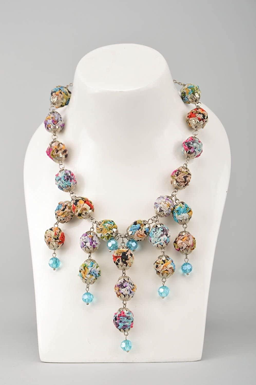 Stylish Beautiful Necklace Handmade Textile Accessory Designer Jewelry