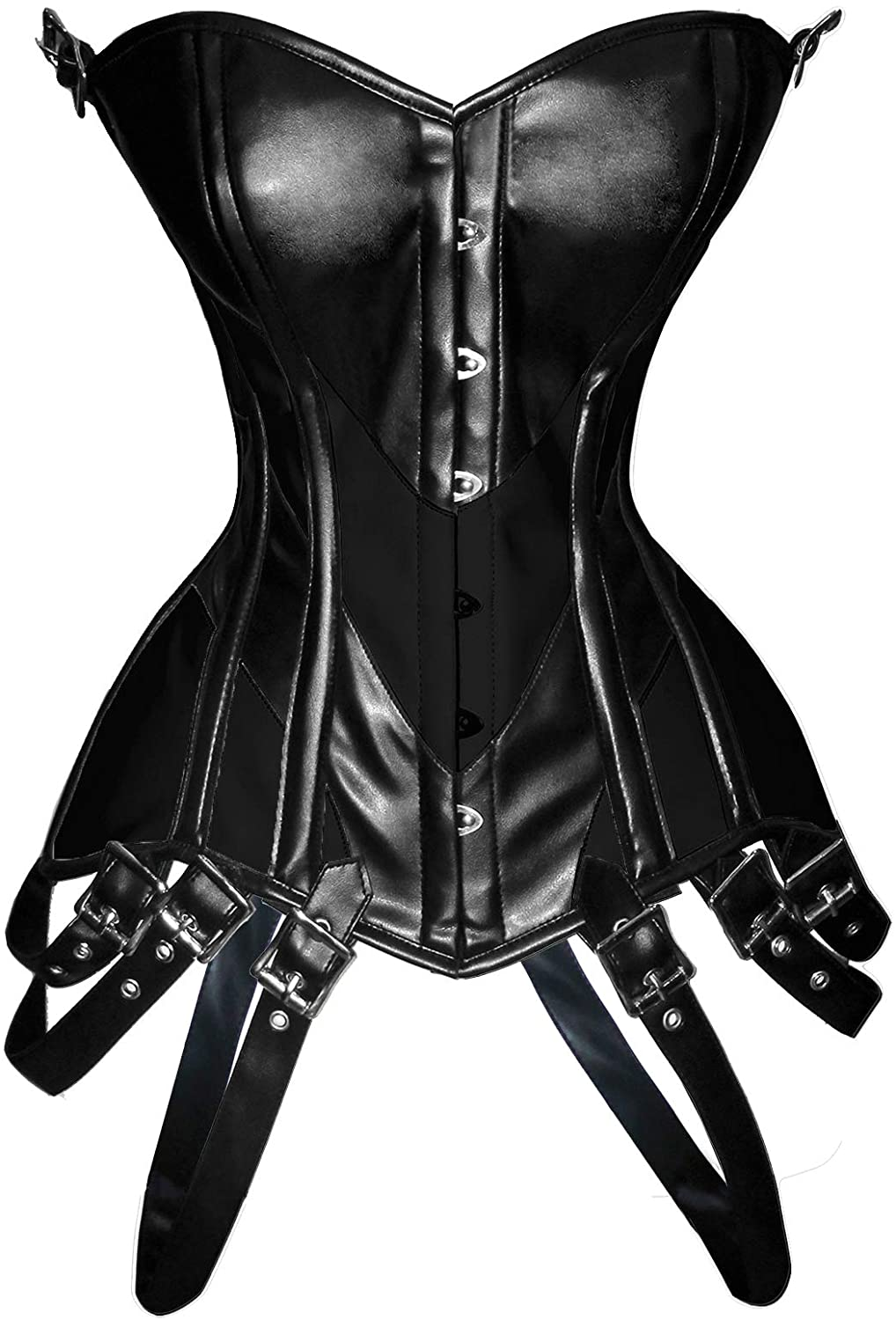 luvsecretlingerie Heavy Duty 26 Double Steel Boned Waist Training Faux Leather Overbust Tight Shaper Corset