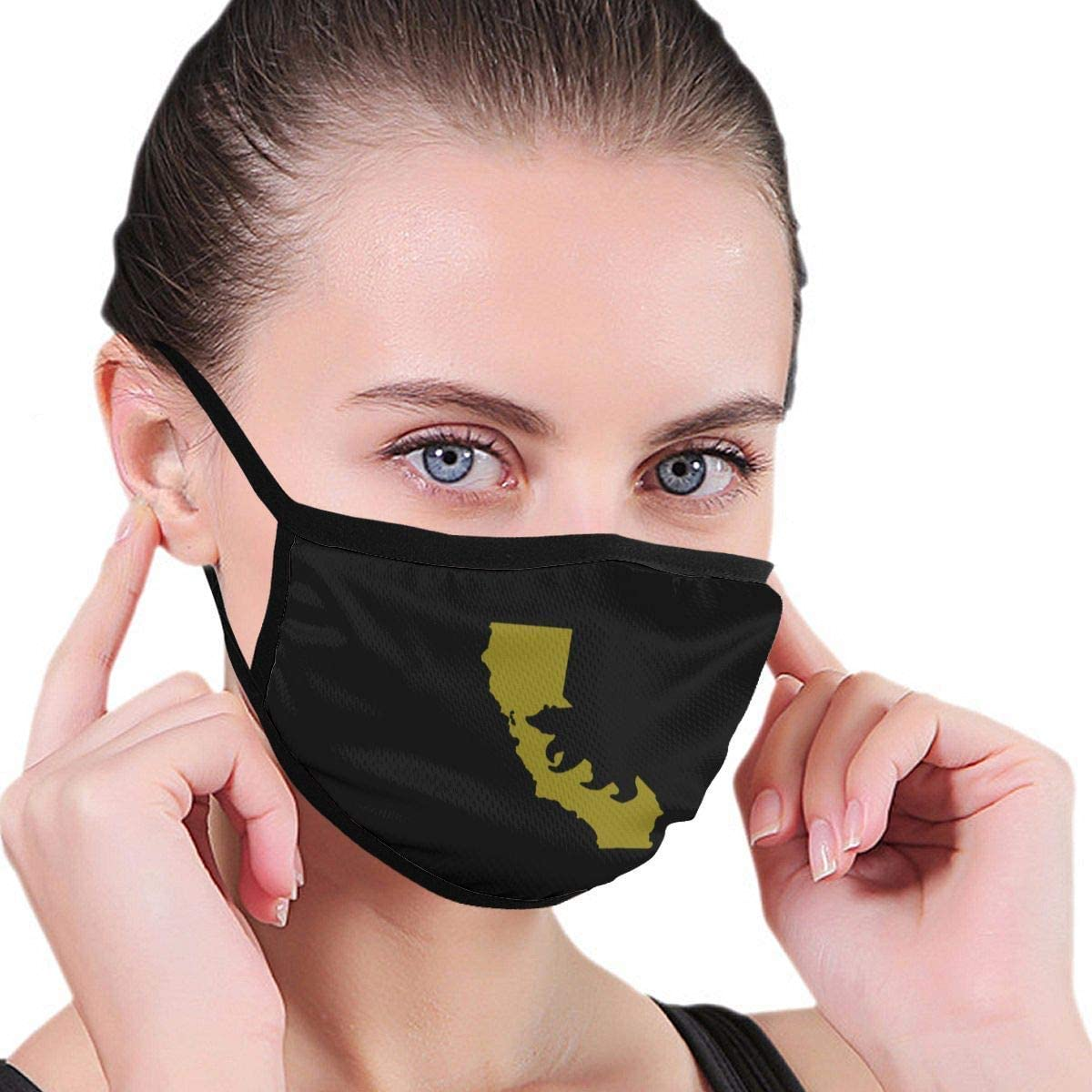 BOKUTT Dust and odor mask California State Flag Map Boys And Girls Reusable Print Polyester Anti-Dust Washable Nose Warmer For Public Places-Washable and reusable