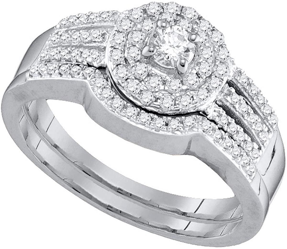 Dazzlingrock Collection 0.48 Carat (ctw) Round Diamond Strand Halo Bridal Wedding Ring Set 1/2 CT, 10K White Gold