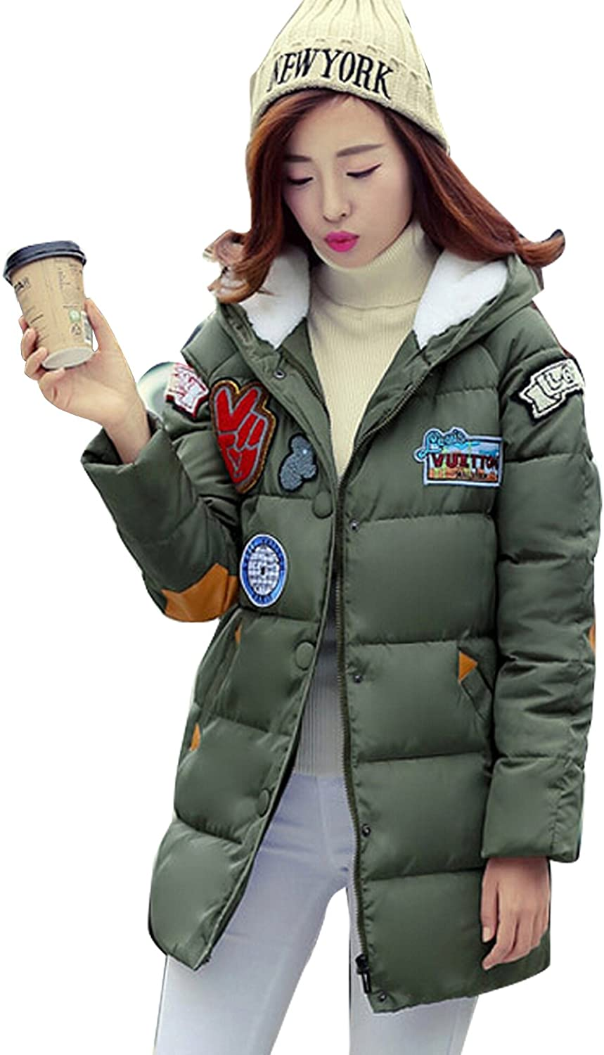 Gaorui Winter Women Cartoon Cotton Padded Hooded Jacket Trench Long Parka Coat Overcoat