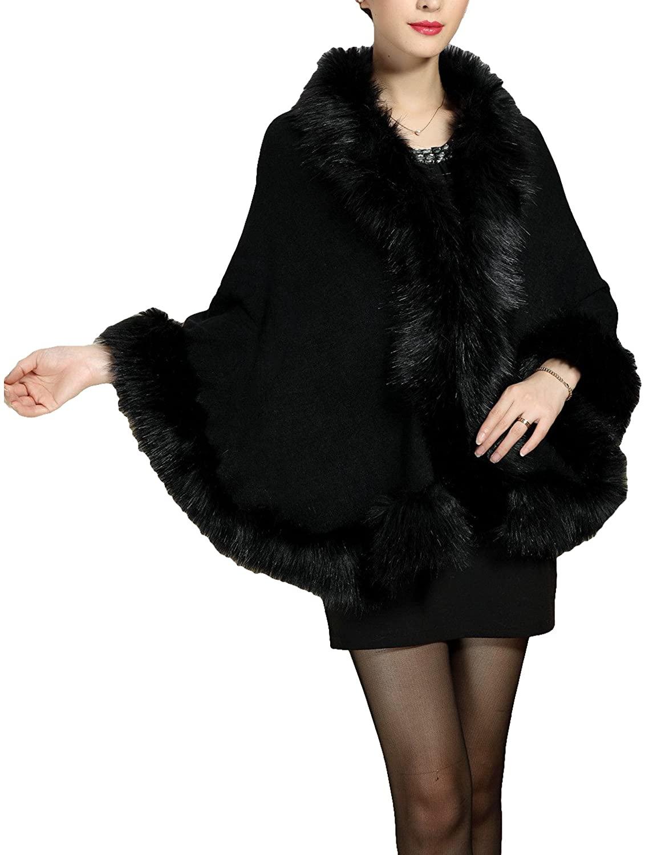 LOVE TIME Women's Faux Fox Fur Shawl Cloak Coat-Knit Cape Coat